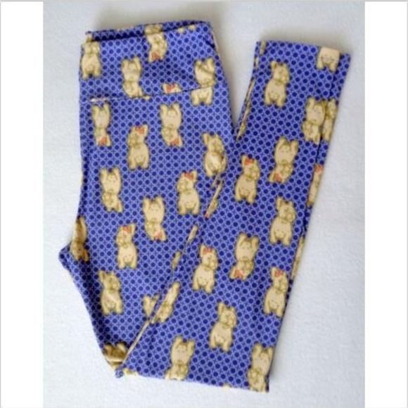 LuLaRoe Pants - Lularoe TC Leggings French Bulldog Soft Blue